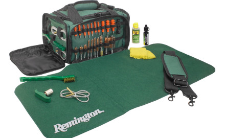Remington's Squeege-E Universal Gun Cleaning System includes all the tools needed to clean almost every firearm, from .22 to caliber to 12-gauge shotgun.