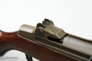 Most Garands made during World War II have locking bars on their rear sight windage knobs. This feature was eliminated in the post-war period