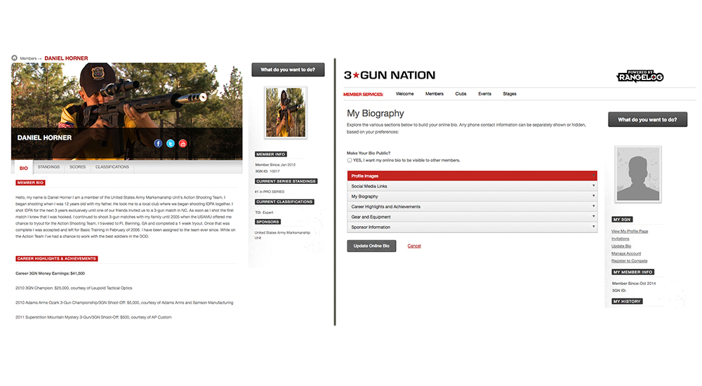 Your profile page (left) is where you and other members can view your bio, standings, scores and classifications. You can update your bio (right) with profile images, links to your social media sites, biographical information, career highlights, a list of the guns and gear you use in competition and sponsor information, which will all show up on your profile.