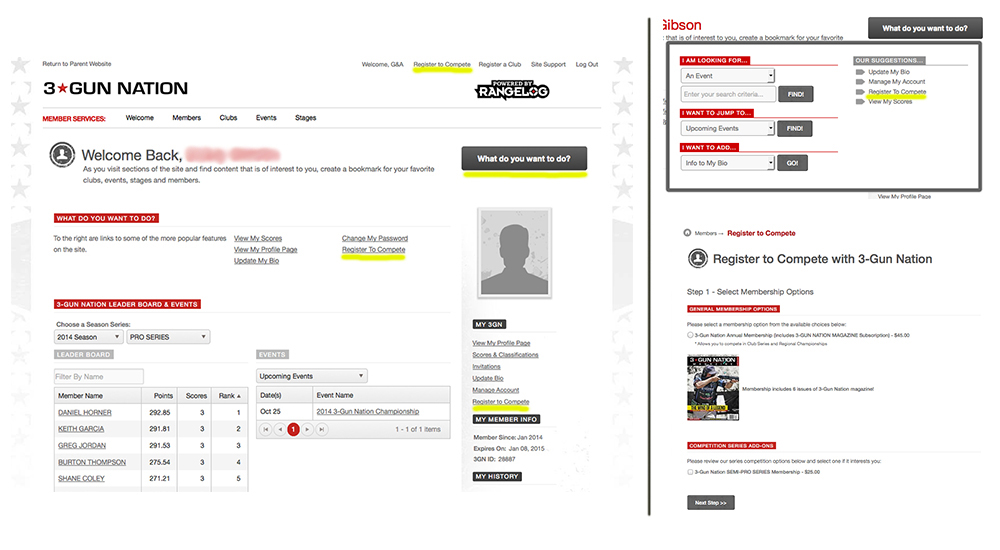 There are four different locations (highlighted) on the dashboard (left) where you can register to compete, including a drop-down menu (top right). Clicking on one of these options takes you to the page where you register (bottom right). A basic annual membership is $45, while a competition series add-on is an additional $25.