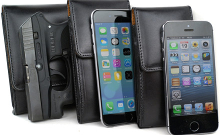 The Sneaky Pete Pholster is a cell phone case built identically to the company's common handgun holsters.