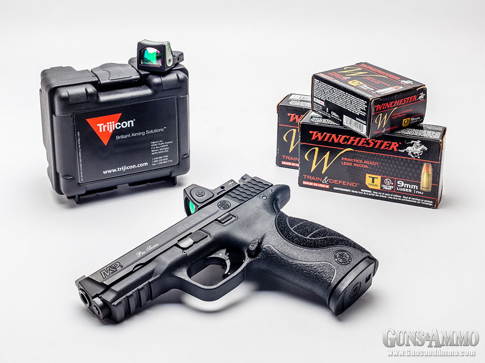 Field testing included an Adjustable-LED RMR (mounted), a Dual-Illuminated RMR and Winchester Train & Defend Ammo.