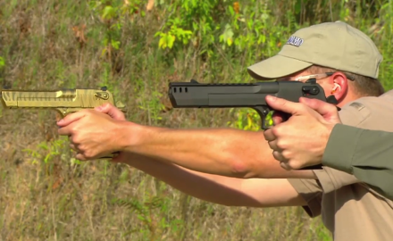 Our experts are test firing the handgun big enough to include rifle size parts, the Desert Eagle