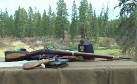 David Fortier and Garry James show off the Mississippi Rifle, a firearm widely used during the