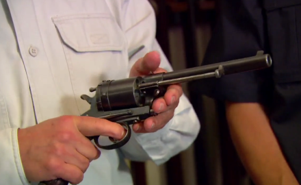 Garry James and David Fortier feature the oversized military- issued revolver, the 1870 Gasser.