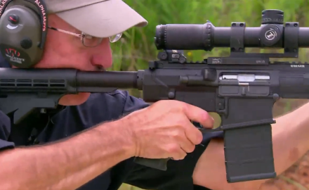 James Tarr introduces Patrick Sweeney to Ruger's SR-762 rifle.