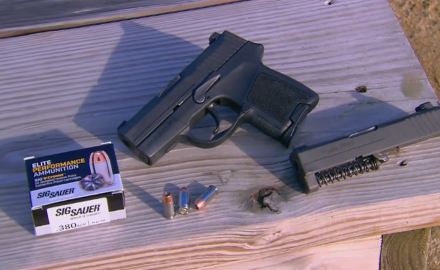 Experts test fire the SIG P290 semiauto pistol at the range.
