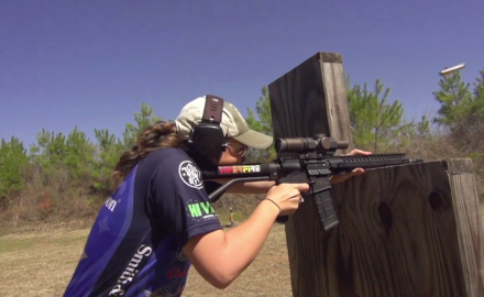 Patrick Sweeney takes his chances in a head-to-head competition with Lena Miculek.