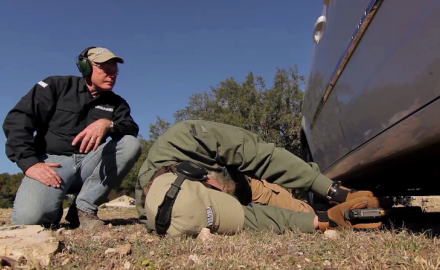 Kyle Lamb and Craig Boddington demonstrate ways to operate a pistol from the prone position.