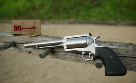 The Magnum Research's BFR .30-30 stainless single-action revolver is a real handful.  The length