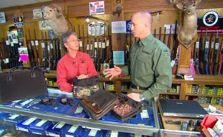 Jason Teague and firearms instructor, Jeannie Dillard discuss concealment and carry options for