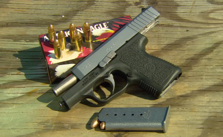 Sgt. Jason Teague and Tom Beckstrand highlight Kahr Arms' compact and value priced CM9 pistol.