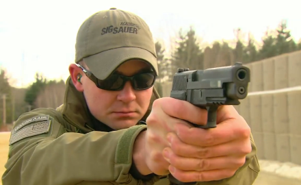 Dick Metcalf pays a visit to SIG to discuss the MK25 pistol; a full-sized 9 mm that is used by