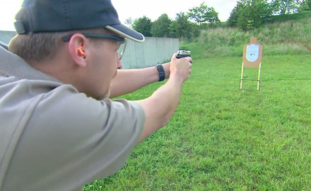 Patrick Sweeney and James Tarr are at the range with the Inter Ordnance Hellcat compact pistol.