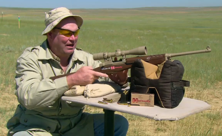 Richard Venola puts a dent in the prairie dog population with his custom Ruger Mini-14