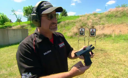 Rob Leatham and Patrick Sweeney are firing the compact Springfield 3.8 XDm pistol.
