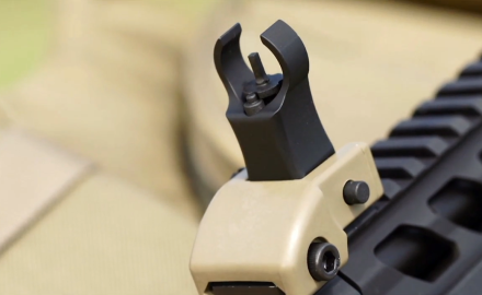 James Tarr and firearms instructor, Todd Rassa highlight back-up iron folding sights from Blackhawk.