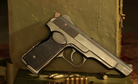 Patrick Sweeney and Tom Beckstrand highlight the Stechkin 9 mm Makarov fully automatic pistol.