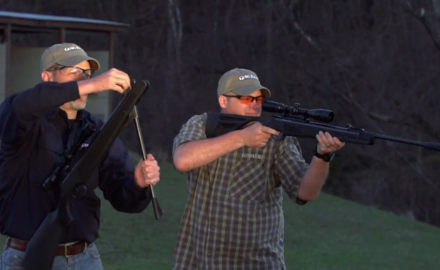 Eric Pool and James Tarr point out the difference between spring piston and gas piston airguns.