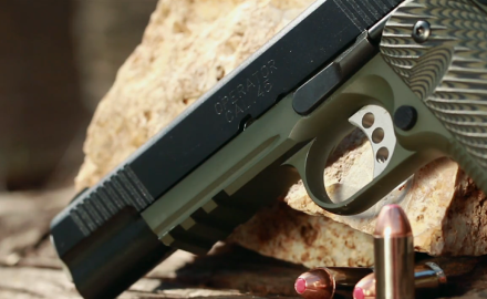 James Tarr and Eric Poole are on the range testing out the latest 1911 Marine Corps Operator pistol