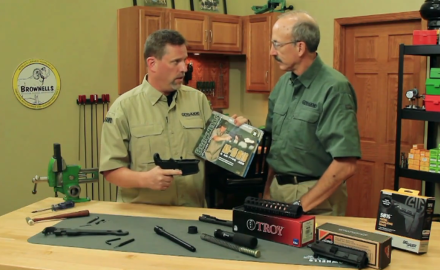 Patrick Sweeney walks Todd Rassa through the steps of building an AR pistol with Brownells set up.