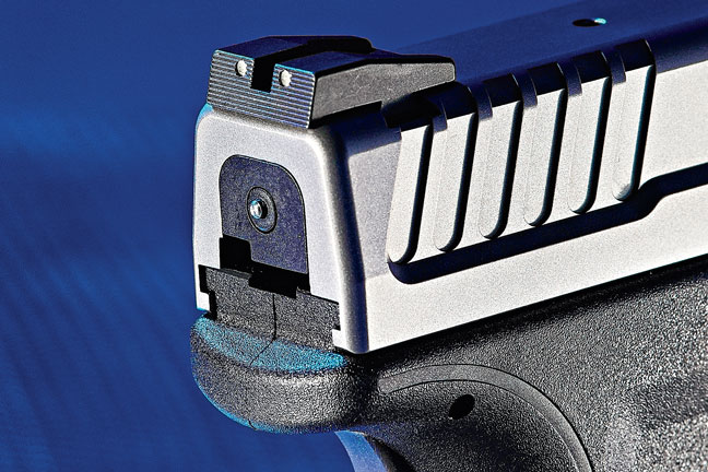 Deeper slide serrations reduce the level of grip strength needed to pull the slide to the rear. A low-profile combat rear sight simplifies one-handed manipulations.
