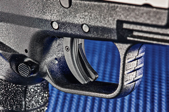 Springfield Armory undercut the triggerguard on the Mod.2 line of pistols, allowing for a higher grip, which translates into less recoil and more control, especially during rapid-fire strings.