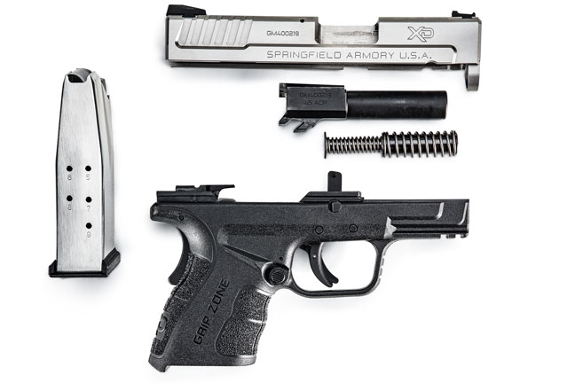 All XD pistols are easy to fieldstrip and keep clean. A dual recoil spring tames felt recoil and guarantees reliablilty in these subcompact pistols.