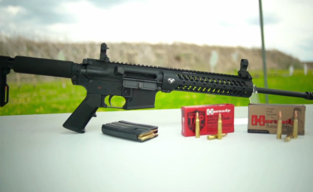 Eric Poole and Patrick Sweeney highlight the features of the Doublestar C3 5.56 rifle.