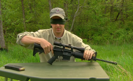 David Fortier demonstrates how to assemble and disassemble an AR while blindfolded.