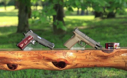Kyle Lamb and Craig Boddington examine two totally different .45 pistols from Springfield Armory.