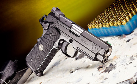 The 9mm EDC 9 Professional features a carbon-steel frame with integral accessories rail and X-TAC