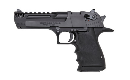Featuring a black anodized aluminum frame, the gas-operated rotating-bolt semiautomatic .357 Magnum