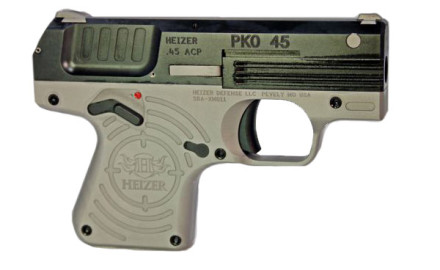 The Heizer PKO 45 is a thin, compact .45 ACP semiautomatic pistol with a wide, flat profile. Width
