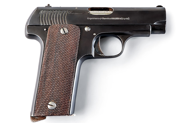 "The 7.65mm (.32 ACP) Spanish ""Ruby,"" of which thousands were built for military and civilian use by several makers during and after World War I, was based on the Colt 1903."