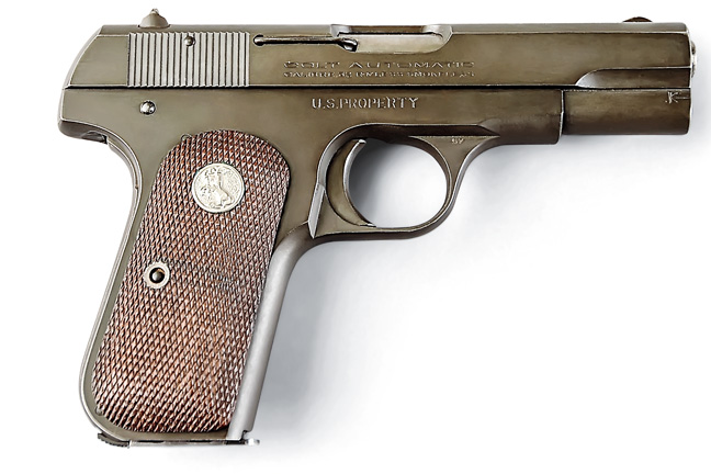 Thousands of .32-caliber 1903s were purchased by the U.S. military in World War II and used for a variety of purposes. They were generally Parkerized and had U.S. ownership marks. This one was made in 1942.