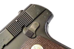 "This particular example, though it has a World War II-vintage Suncorite finish, exhibits all of the proper British proofs and government marks for the period. It is also dated ""4.21."" Colt pockets were popular with many militaries and police."