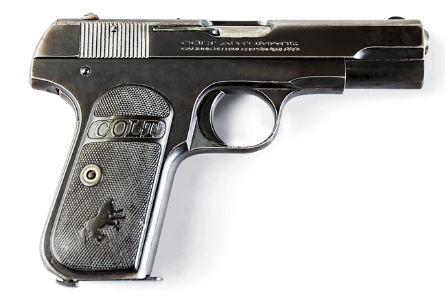 The 1903 Colt is one of the world's great pocket pistols. Over 700,000 were made in .32 (shown) and .380 between 1905 and 1945. This one was built in 1920.
