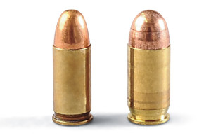 The Model M was first chambered in .32 ACP (above left) and later in .380 ACP (above right). Both rounds were designed by John Browning.