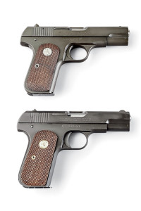 "(Above)Markings on the new 1903 (below) are virtually identical to the original's (above) with the exception of a special ""GOP"" prefixed serial number. (Below)Licensed by Colt, U.S. Armament's new 1903 ""Hammerless"" General Officer's Pocket Pistol — with the exception of its gold grip escutcheon — is a ringer for an original U.S.-issue .32 (above)."
