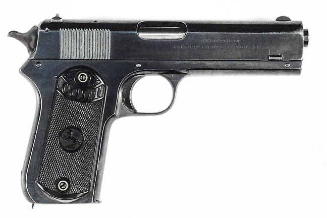 As well as the 1903 Hammerless, Colt offered a Model 1903 Pocket Hammer model. Also designed by John Browning, it was based on the earlier Model 1900 auto pistol and was entirely different than the Hammerless. Caliber was .38 ACP. Photo courtesy of James D. Julia, Inc.