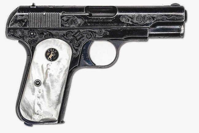 The 1903 provided an excellent platform for embellishment as witnessed by this special-order engraved example with pearl grips. Photo courtesy of James D. Julia, Inc.