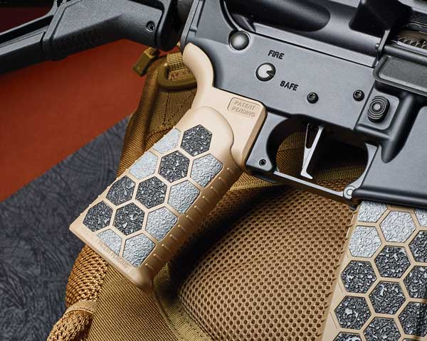For a superior grip, Hexmag's die-cut, self-adhesive Grip Tape is just the thing. The peel-and-stick tape is waterproof and fits perfectly into the hexagonal cavities of Hexmag's AR-10/AR-15 magazines and  tactical rifle/pistol grips.