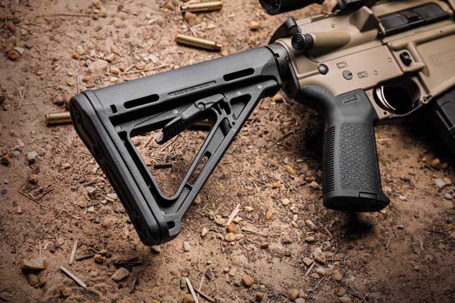 The Magpul MOE stock has  multiple sling attachment points and minimizes bulk.