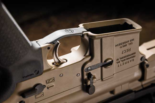 The Magpul triggerguard fills in the gap between the frontstrap and the triggerguard. This makes a day at the range much more comfortable.