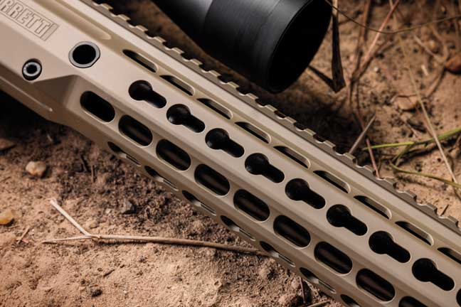 The handguard has the KeyMod attachment system that offers mounting options without the sharp and uncomfortable edges to grip.