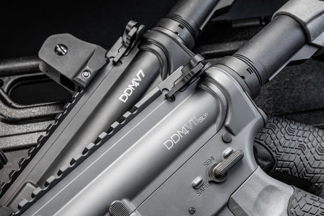 """Each model and variant is laser etched on the upper receiver. Daniel Defense """"Tornado"""" Cerakote is a gray color, distinguishing it from the standard anodized black. While fit and finish shouldn't really matter on a fighting rifle, they are usually a good indicator of quality."""