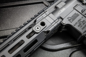 The M4 V7 is not as svelte as the V11, yet it remains lightweight. The handguard features the M-LOK attachment system and is longer than the V11's, providing extra mounting space for accessories and added control of the muzzle when firing rapidly at close range.