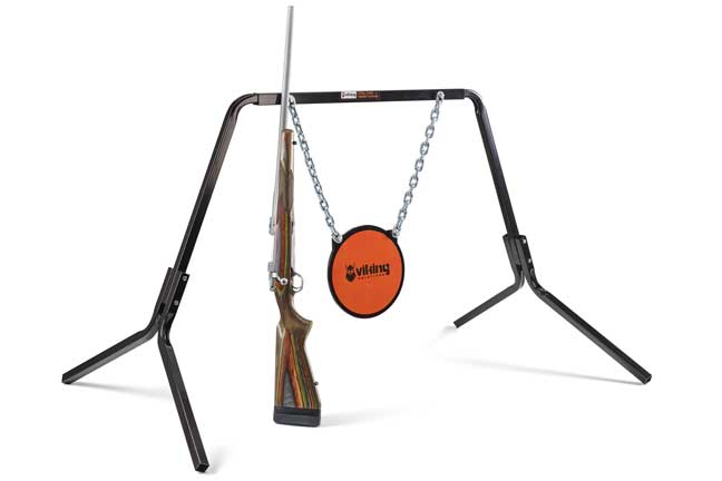 The Viking Solutions gong target with steel-beam stand is quick to set up and disassemble in the field. Also offered is a model that allows shooters to use a 2x4 for a center beam, which means that we can increase the width of the frame and attach additional steel plates or hang paper targets. See more at vikingsl.com.