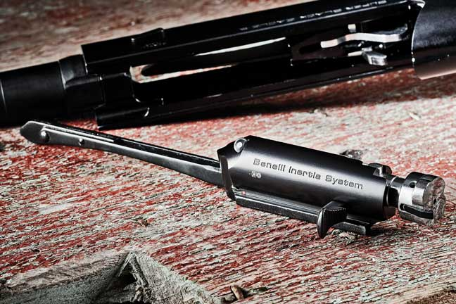 A new detent system borrowed from the Benelli Ethos ensures that the rotating bolt face locks up and engages securely without a nudge forward from a helping hand. The enlarged extractor/bolt handle also proved to be a plus for ease of use with gloved hands. Benelli's inertia-operating system is entirely housed within this bolt carrier group.
